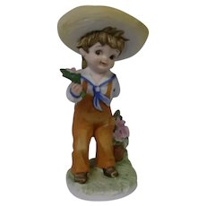Lefton Sweet Porcelain Figurine of Boy with Flowers, Made in Japan
