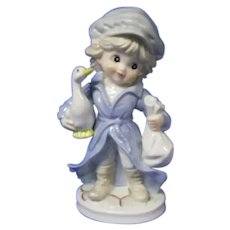 Charming Vintage Figurine of Boy with Goose