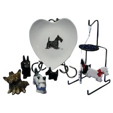Vintage Scottie Collection, Heart Shaped Plate, Wind Chimes, Figurines, Pin