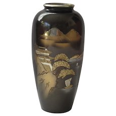 Artist Signed Japanese Mixed Metal Vase, Fishing Village and Mt Fuji