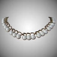 Vintage MONET White Thermoset Necklace ~ Over 1/2 OFF