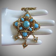 Ornate Vintage Turquoise Glass Necklace with Danglers ~ REDUCED!!