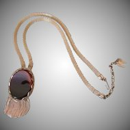 Whiting & Davis Dark Chocolate Glass Necklace with Fringe and Mesh
