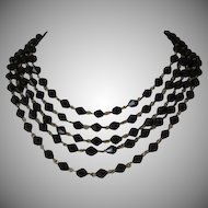Vintage Jet Black Glass Five Strand Necklace
