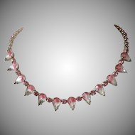 Pink Givre and Rhinestone Choker Necklace