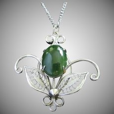 Faux Jade Cabochon, Silver Tone Pendant Necklace