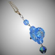 Blue Marguerite and AB Crystals Necklace ~ REDUCED!