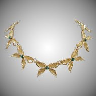 Gold Tone Butterflies with Emerald Green Rhinestones Necklace ~ REDUCED!