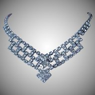 Vintage Clear Rhinestone Choker Style Necklace