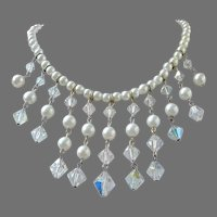 Final Markdown - Faux Pearls and Crystals Waterfall Vintage Necklace