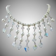 Faux Pearl and Crystals Waterfall Choker Necklace, Bridal Jewelry