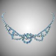 Blue Green Aurora Borealis Rhinestone Necklace ~ SOLD to PG