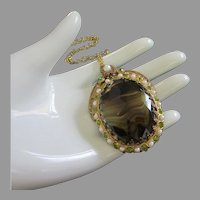 Final Markdown - West Germany Green and Topaz Glass Pendant Necklace