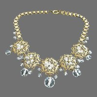 Final Markdown - Vintage Brass Filigree and Clear Crystals Necklace