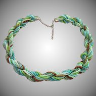 Vintage Turquoise and Green Seed Bead Torsade Necklace
