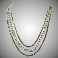 Vintage Trifari Three Strand Gold Tone Chains Necklace