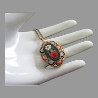 Vintage Micro Mosaic Pendant Necklace, Made in Italy
