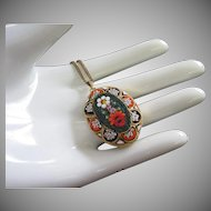 Vintage Micro Mosaic Pendant Necklace, Made in Italy ~ REDUCED!