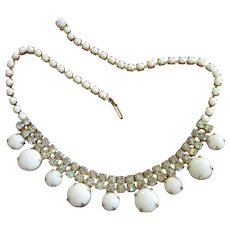 Final Markdown - Vintage Milk Glass and AB Rhinestone Choker Necklace