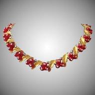 Vintage BSK Red Berries, Leaves and Rhinestone Necklace