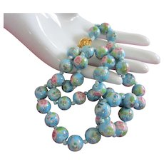 Vintage Sky Blue and Pink Flowers Cloisonne Bead Necklace