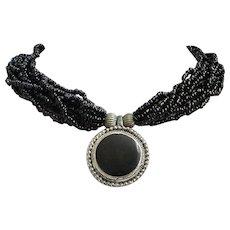 Vintage Black Seed Bead Torsade Necklace with Black, Silver Tone Centerpiece ~ REDUCED!