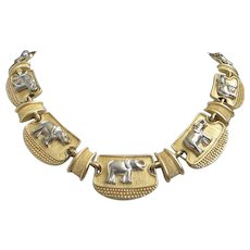 Vintage Mixed Metal Gold and Silver Tone Elephants Necklace ~ REDUCED!