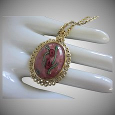 Whiting and Davis Hand Painted Roses, Rose Colored Stone Pendant Necklace