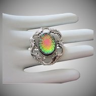 Vintage Rainbow Hued Cabochon and Silver Tone Pin Brooch