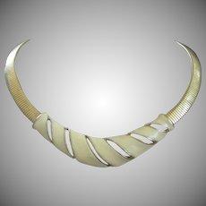 Creamy Enamel and Gold Tone Vintage Necklace