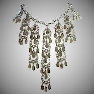 Dangling Silver Tone Teardrops Bib Style Necklace