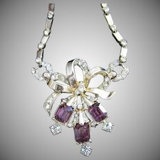 Coro Amethyst and Clear Rhinestone Vintage Necklace