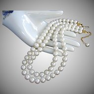 Napier Double Strand White Faux Pearl Necklace