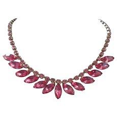 Fuchsia Pink Rhinestone Necklace Choker