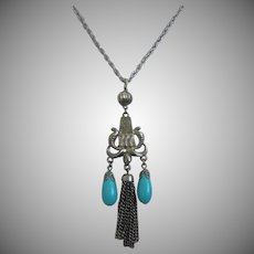 Egyptian Revival Necklace Pendant with Faux Turquoise and Tassel