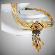 Captivating Gold Mesh, Jet Black and Topaz Rhinestone Drippy Necklace