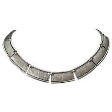 Trifari Textured Silver Tone Necklace Choker