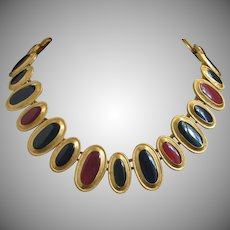 Anne Klein Richly Enameled Gold Tone Necklace