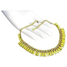 Weiss Lemon Yellow Rhinestone Vintage Choker Necklace