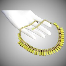 Weiss Lemon Yellow Rhinestone Vintage Choker Necklace