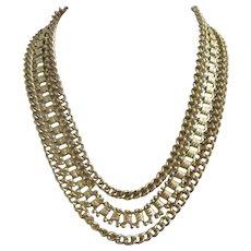 Coro Gold Tone Book Chain Multi Strand Necklace
