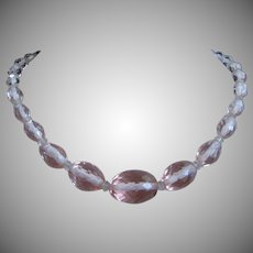 Pink Faceted Crystal Necklace Czechoslovakia