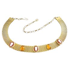 Gold Tone Mesh with Cameos and Topaz Glass Choker Necklace