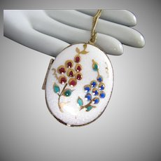 Guilloche Enamel Double Locket with Floral Design