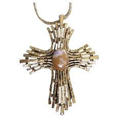Antiqued Gold Tone Cross with Semi Precious Center Stone Necklace, Pendant