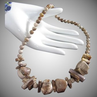 Chunky Semi Precious Stone Necklace in Taupe and Beige