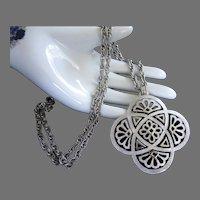 Trifari Silver Tone Vintage Pendant Necklace, Long Chain