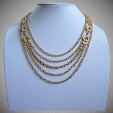Monet Multi Chain Gold Tone Vintage Necklace