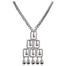 Vintage Silver Tone Teardrop Dangles Necklace