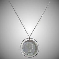 Intaglio Glass Cameo Necklace Silver tone
